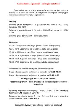 Komunikat ws. egzaminów i treningów sobotnich Dzień