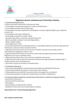 Regulamin obozów młodzieżowych GTeam Biuro Podróży
