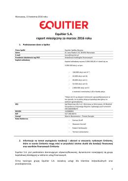 Equitier - raport miesięczny za marzec 2016 - 15.04