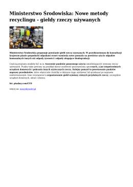 Giełdy rzeczy używanych - propozycja Ministerstwa Środowiska