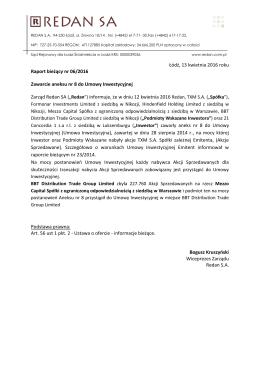 Informacja o zawarciu aneksu numer 8 do Umowy