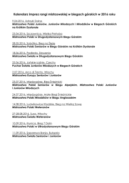 Kalendarz biegów górskich 2016