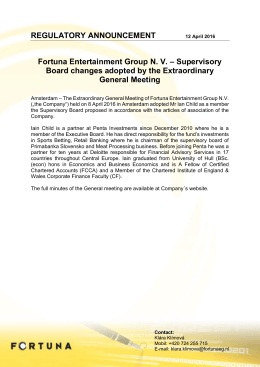 REGULATORY ANNOUNCEMENT Fortuna Entertainment