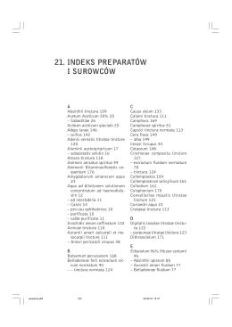 21. indeks preparatów i surowców