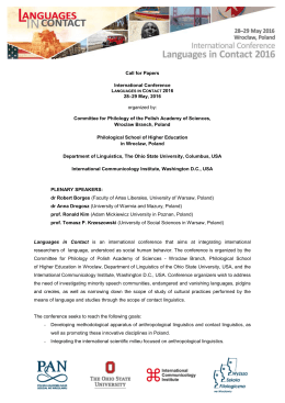 Call for Papers International Conference 28–29 May, 2016