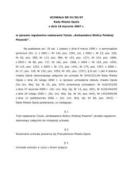 UCHWAŁA NR VI/50/07 Rady Miasta Opola z dnia 18