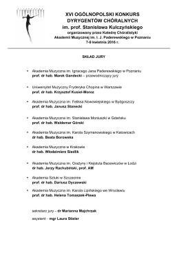 Skład jury XVI Ogólnopolskiego Konkursu Dyrygentów Chóralnych