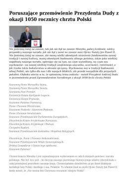 Poruszające przemówienie Prezydenta Dudy z okazji 1050 rocznicy