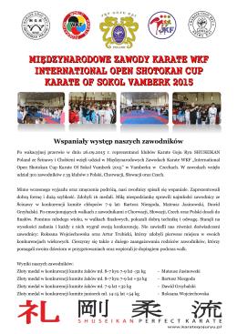 Międzynarodowe Zawody Karate WKF Vamberk