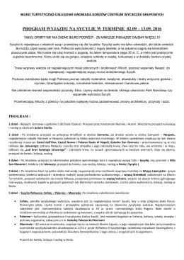 SYCYLIA 02.09-13.09.2016 - Biuro Turystyczno Usługowe