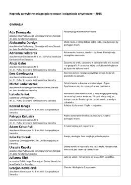 Zobacz listę nagrodzonych