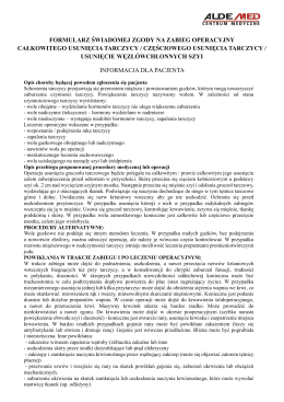Informacja dla pacjenta, formularz świadomej zgody
