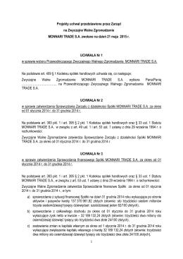 Projekty uchwał ZWZ 21.05.2015