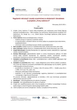 Regulaminem rekrutacji i uczestnictwa w projekcie