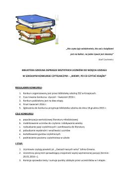 biblioteka szkolna zaprasza wszystkich uczniów do wzięcia udziału