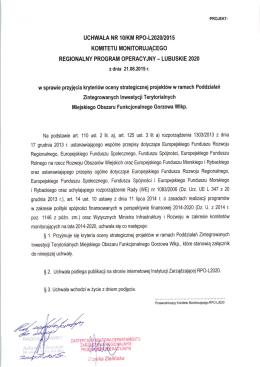 Uchwała w sprawie kryteriów oceny strategicznej projektów ZIT MOF