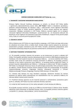 Ogólne warunki sprzedaży ACP Polska