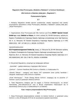 """Regulamin Akcji Promocyjnej """"Niedziela z Rabatami"""