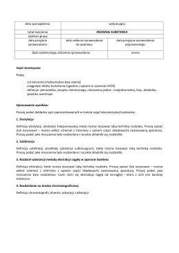data sporządzenia - Podstawy Chemii