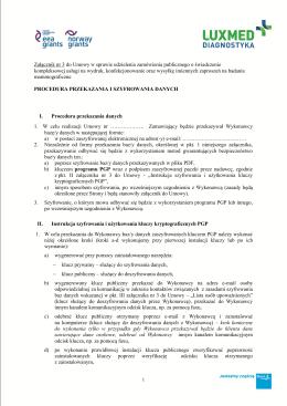 Zał do umowy 8a_nr 3_procedura przekazania i szyfrownania danych