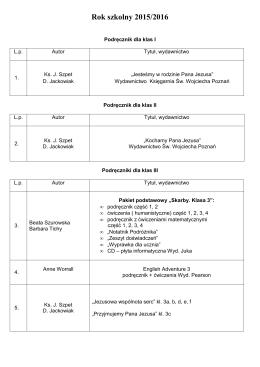 Podręczniki obowiązujące w r. szk. 2015/2016