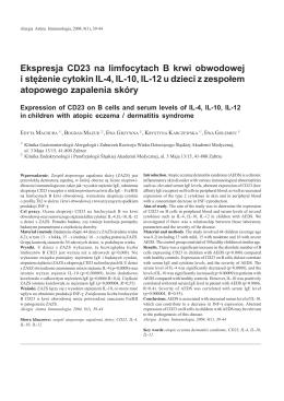 Ekspresja CD23 na limfocytach B krwi obwodowej i stężenie cytokin