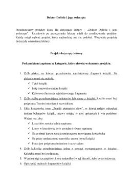 Doktor Dolittle i jego zwierzęta Przedstawiamy projekty klasy IIa