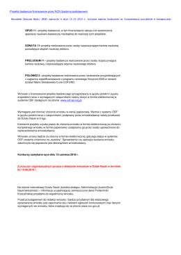 Projekty badawcze finansowane przez NCN (badania podstawowe