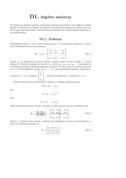 D1. Algebra macierzy