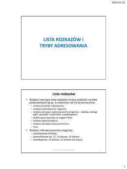Lista rozkazów i tryby adresowania