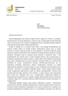 Pismo do Premier E. Kopacz ws funkcjonowania komisji klęskowych