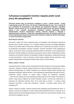 Cyfryzacja europejskich banków napędza polski rynek pracy dla