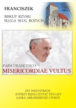 Bulla Ojca Św. Franciszka: Nadzwyczajny Jubileusz Miłosierdzia