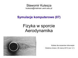 Fizyka w sporcie Aerodynamika
