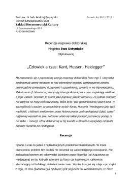 """""""Człowiek a czas: Kant, Husserl, Heidegger"""""""