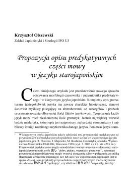 Propozycja opisu predykatywnych części mowy w języku