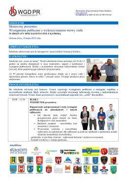 Agenda szkolenia ``Skuteczny Prezenter``