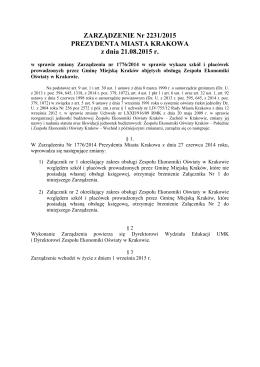 ZARZĄDZENIE Nr 2231/2015 PREZYDENTA MIASTA KRAKOWA z