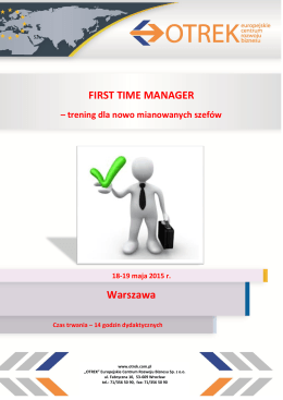 FIRST TIME MANAGER Warszawa