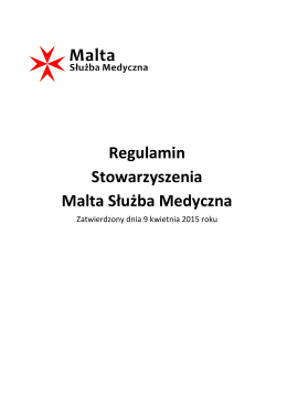 Regulamin Stowarzyszenia Malta Służba Medyczna
