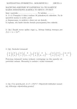matematyka dyskretna - kolokwium 1 grupa a rachunki+krótkie