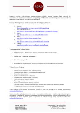 Informacja o naborze osób do uczestnictwa w projektach