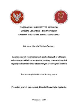 lek. dent. Kamila Wróbel-Bednarz - Wydział Lekarsko