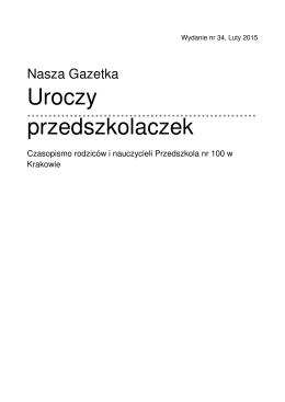 Uroczy przedszkolaczek - Przedszkole Specjalne nr 100 w Krakowie