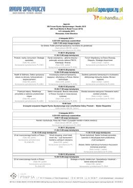 Agenda VIII Forum Rynku Spożywczego i Handlu 2015 (8th Food Market