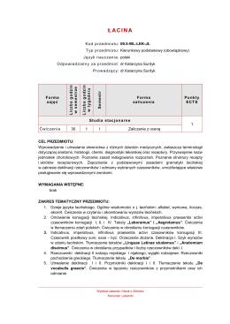 Szablon opisu przedmiotu do Katalogu Przedmiotów ECTS