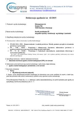 Deklaracja zgodności nr 42/2015 - Klima Oprema Polska