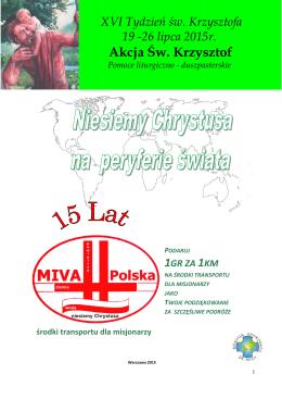 Materiały liturgiczne na Akcję św. Krzysztof 2015