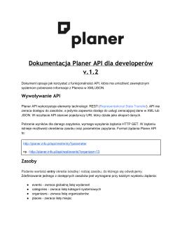 Dokumentacja Planer API dla developerów v.1.2