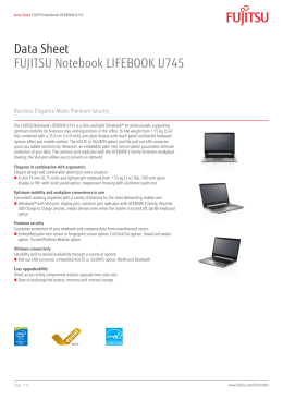 Data Sheet FUJITSU Notebook LIFEBOOK U745